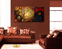 Cherish Art 100% Handpainted Oil Painting Gift Tree Wall Picture Artwork Modern Art Canvas Knife Oil Painting On Canvas