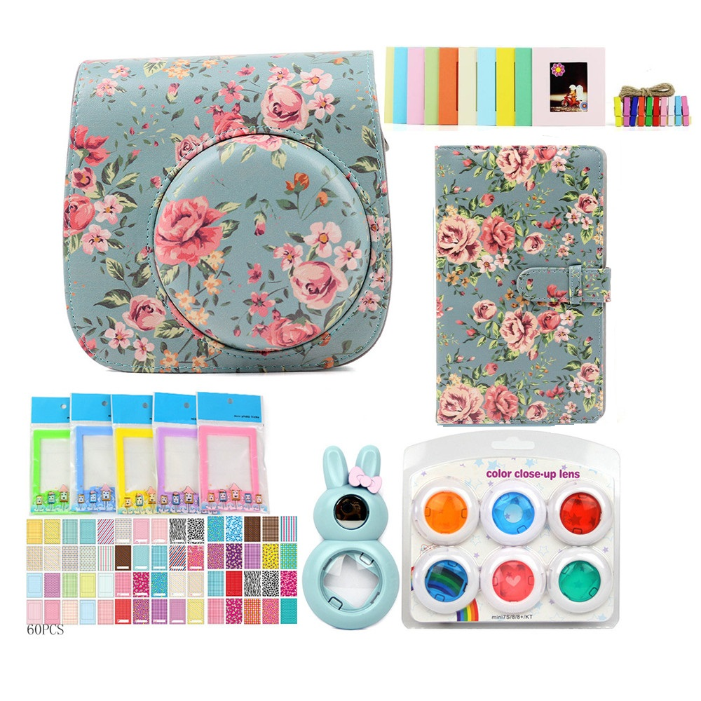 PU Leather Bag Case with 3 inch 96 Pockets Brightly Mini Film Photo Album /Stickers/Lens For Fujifilm Instax Mini8/8+/9