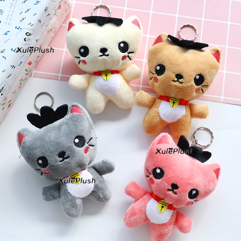 Delicate Quality 4Colors – Cat 12cm approx. Plush Stuffed TOY , key ring bell kitty Plush Toy Doll , Kid's Party Gift Toy