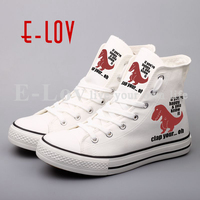 New 2017 Fashion Brand Women Flat Shoes Unisex Canvas Walking Shoes Custom Printed Letters Summer Casual