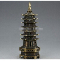 Asian Home decoration Chinese old bronze handmade The tower statue/sculpture Fine wedding Arts Crafts decoration