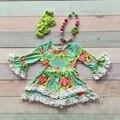 2016 девушки детская одежда дети Осень Зима кружева печати цветочные платье бутик с длинным рукавом Flare рукавом с матч ожерелье и лук