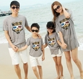 2017 Summer cotton Family outfits , woman daughter man Son sets, 3D tiger Girls Boys t shirt+ pants sets