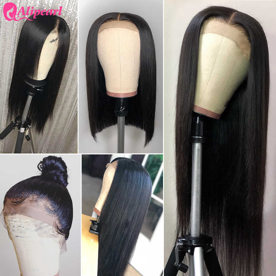 Ali Pearl Lace Front Human Hair Wigs 130 150 180 250 Density Brazilian Straight Human Hair Wigs Pre Plucked Remy Natural Color