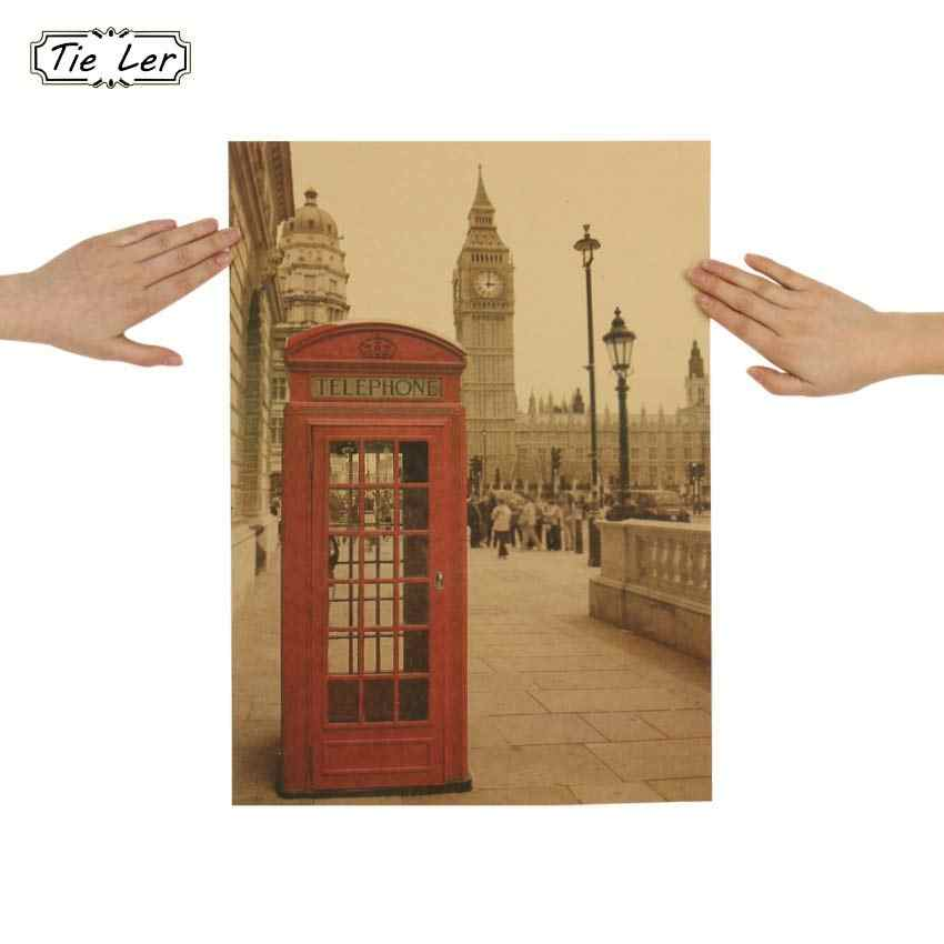 TIE LER London Red Telephone Booth Kraft Paper Poster Livingroom Bedroom Home Decor Retro Landscape Wall Sticker 51.5x36 cm