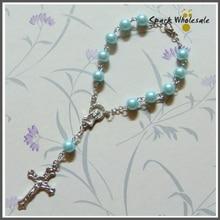 50pcs/lot Religious Blue Glass Pearl Rosary Bracelet Childrens Communion Baby Shower Boys Baptism Favor Decade Mini Rosary
