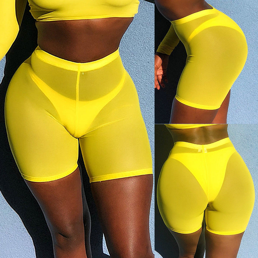 Женские спортивные повседневные пляжные шорты для йоги с высокой талией, шорты для йоги, шорты для волейбола - Цвет: Цвет: желтый