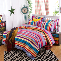 Bedding Sets 4pcs Stripe Duvet Quilt Cover For King Queen Full Twin Size Bedclothes 100 Cotton