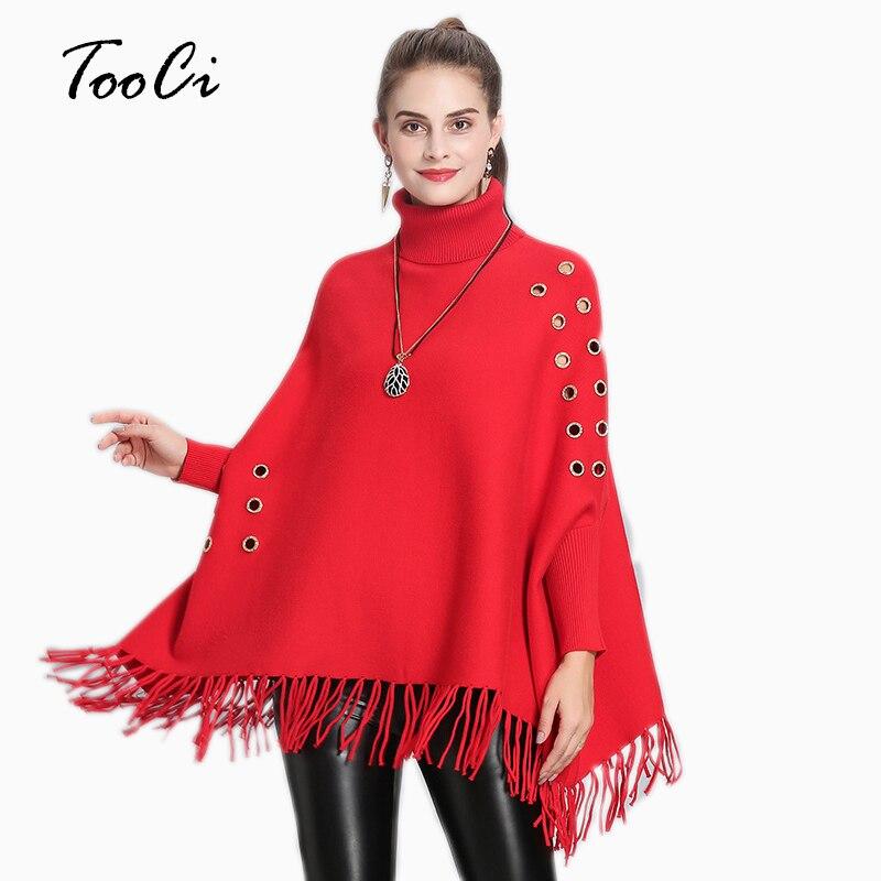 2018 Mode Design Stil Frauen Hohe Kragen Rot Poncho Pullover Für Weibliche Baumwolle Gestrickte Quaste Warme Winter Schal Capes Von Der Konsumierenden öFfentlichkeit Hoch Gelobt Und GeschäTzt Zu Werden