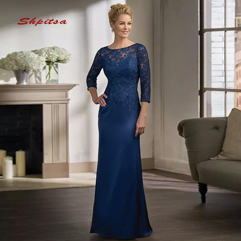 Bleu marine manches longues dentelle mère de la mariée robes pour les mariages femme mere robes de grande taille formelle marraine marié robes longues