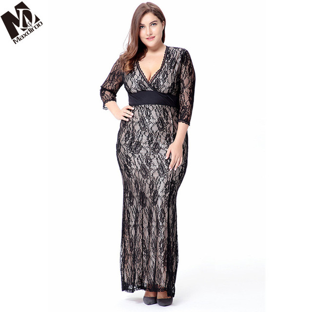 Maxdiroo Sexy Women Lace Dress Mermaid Ladies Dresses V-neck Bodycon Plus  Size Dress Embroidery 067c64472bc5