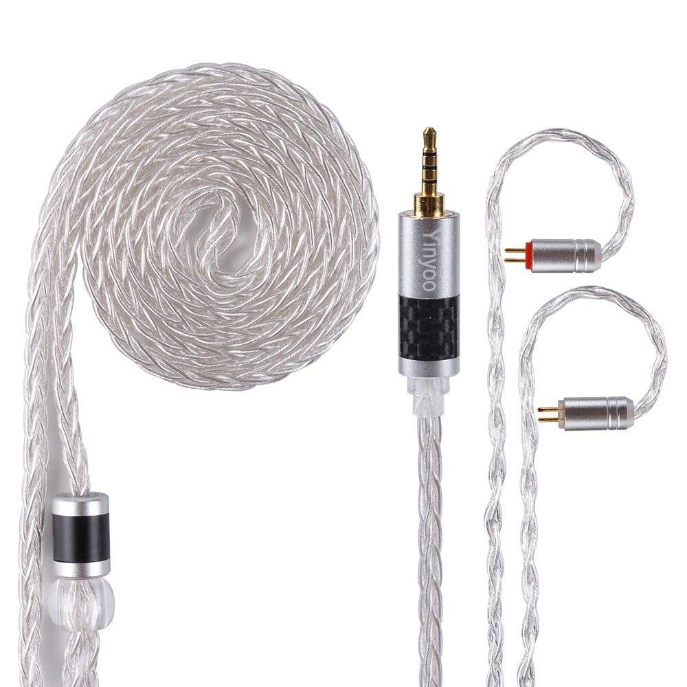 AK Date Yinyoo 8 Core Pur Argent Câble 2.5/3.5/4.4mm Équilibrée Écouteurs Mets Câble Avec MMCX /2Pin pour KZ TRN D'ÉTAIN CCA ZST