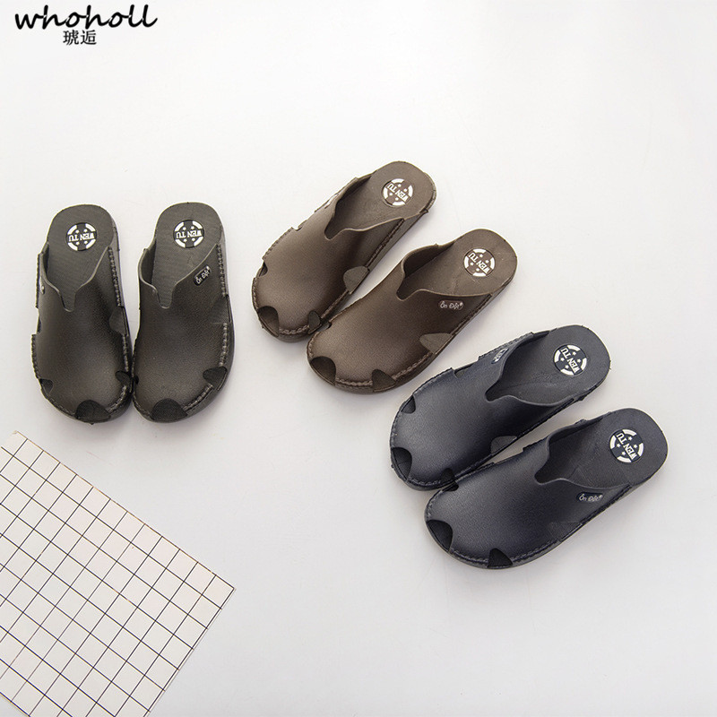 Whoholl Brand Dropshipping Men 39 s Slippers Seaside Sandals Cow Patnet Leather Slides Crocodile Pattern Summer Beach Men Slippers in Slippers from Shoes