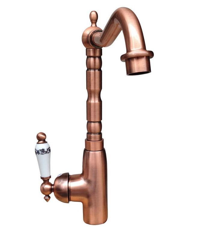 Bec pivotant poignée unique Antique rouge cuivre évier de cuisine robinet mélangeur robinet de bassin Crg022