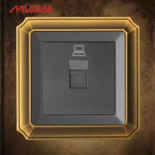 MVAVA PC Data Wall Decorative Socket RJ45 LAN Data Outlet Internet Computer Jack Plug Luxury Bronzed Panel Free Shipping недорго, оригинальная цена