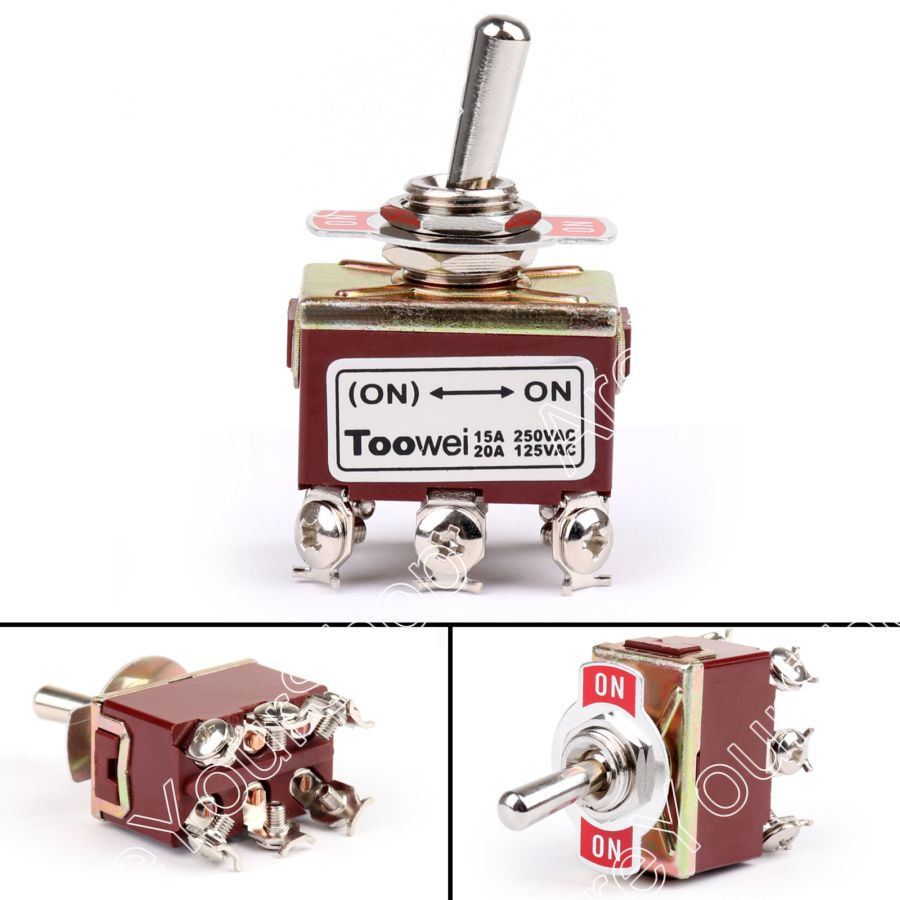 Areyourshop Toggle Switch 2 Terminal 6Pin (ON)-ON 15A 250V Toggle Switch Screw DPDT Industrial Grade