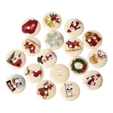 100Pcs Mixed Christmas Pattern Wooden Buttons Wood Round 2 Holes Fit Sewing Scrapbook 15mm