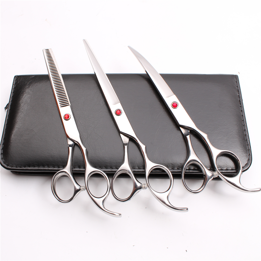20Sets C3003 7 quot Customized Logo Wholesale JP 440C 3Pcs Suit Cutting Thinning Down Curved Shears Professional Pets Hair Scissors in Hair Scissors from Beauty amp Health