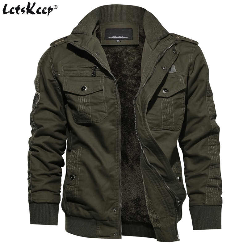 M-6XL LetsKeep Winter Fleece bomber jacket men badges military army jackets coat mens tactical parkas Outerwear Plus size, MA498