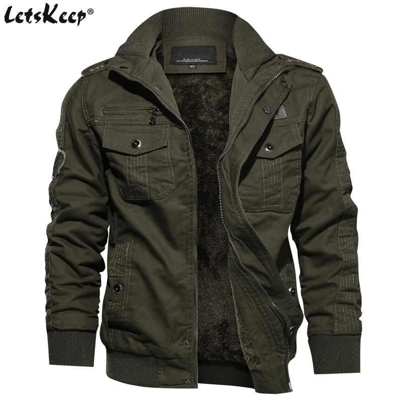 9b8816a8ed6 M-6XL LetsKeep зимняя флисовая куртка-пилот мужчины значки в стиле милитари  Куртки пальто