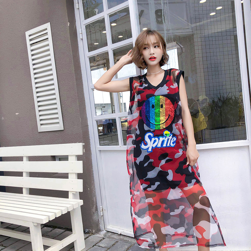 MUMUZI Camouflage Print Summer Sheer Mesh Dress Sleeveless Print Cartoon Dress Women V Neck Thin Chiffon Dress Vestidos