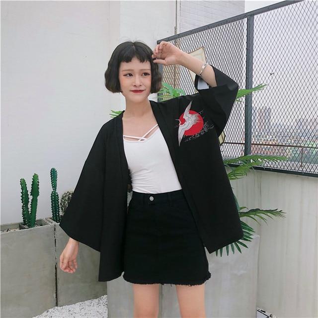 2018 New Korean Fashion Woman Kimono printed Crane kimono Chinese wind restoring ancient ways thin coat sun-protective clothing  1