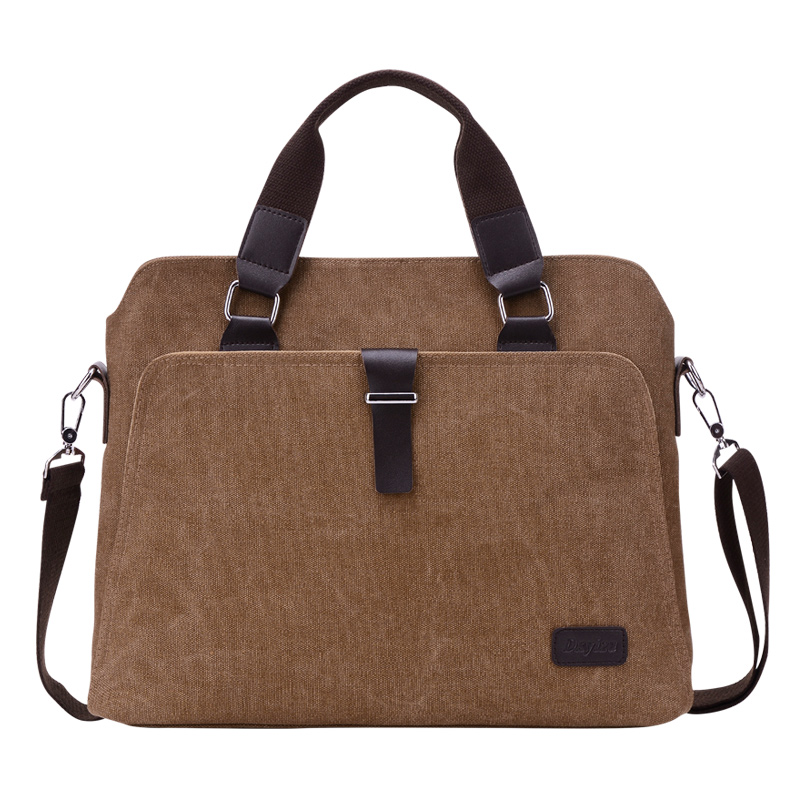 Mens Canvas Shoulder Bags Briefcase Vintage Style Messenger Bags Travel Crossbody 14 Inch Laptop Leisure Bag Case Handbag Tote