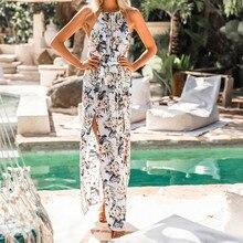 Long  Dress Floral Print Beach Vintage Maxi Dresses Boho Casual Sleeveless Sundress Chiffon