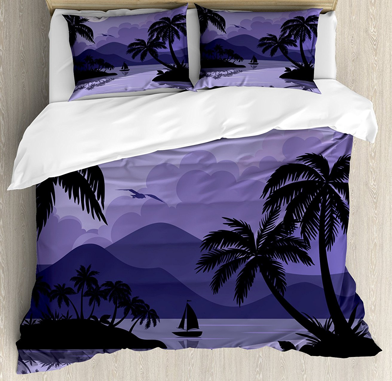 Tropical Duvet Cover Set, Caribbean Island Landscape at Night Full Moon Sailboat and Palm Trees, 4 Piece Bedding Set