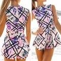 Sexy Floral Playsuit Bodycon Mulheres Jumpsuit Romper Calções Partido Clubwear S-XL 2016 Verão