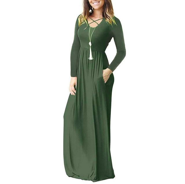 Autumn Winter Women Long Dress 2018 Gothic Solid Pockets Long Sleeve Maxi Dresses Vintage Cross Midi Dress Women Clothes 4