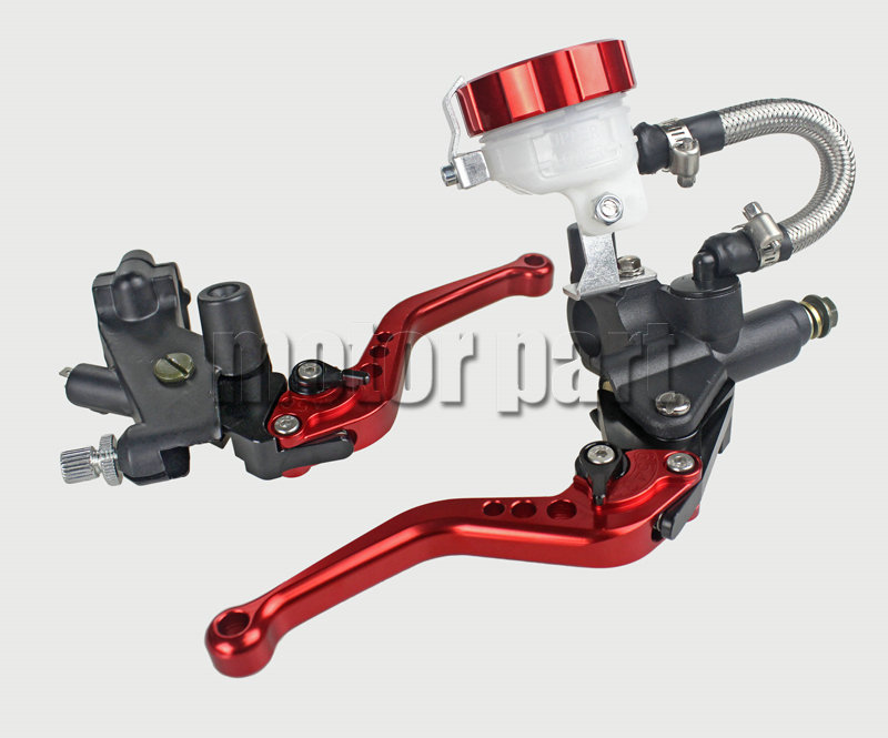 Red Universal 7/8 22mm Handlebar Adjustable CNC Brake Clutch Levers Tank Cylinder Kit With Fluid Oil Reservoir Set For Yamaha universal motorcycle brake fluid reservoir clutch tank oil fluid cup for mt 09 grips yamaha fz1 kawasaki z1000 honda steed bone