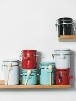 Creative ceramic large sealed cans with lid storage tank tea cans food storage bottle grain box jars canister kitchen stuff