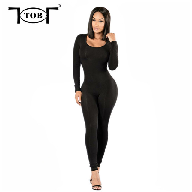 912a491e3e63 new fashion autumn stylle 2017 sexy women tight jumpsuit elegant womens  long sleeve solid black jumpsuits AT133