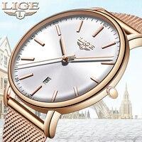 LIGE женские часы лучший бренд класса люкс водостойкие часы Модные женские из нержавеющей стали ультра-тонкие повседневные часы наручные, кв...