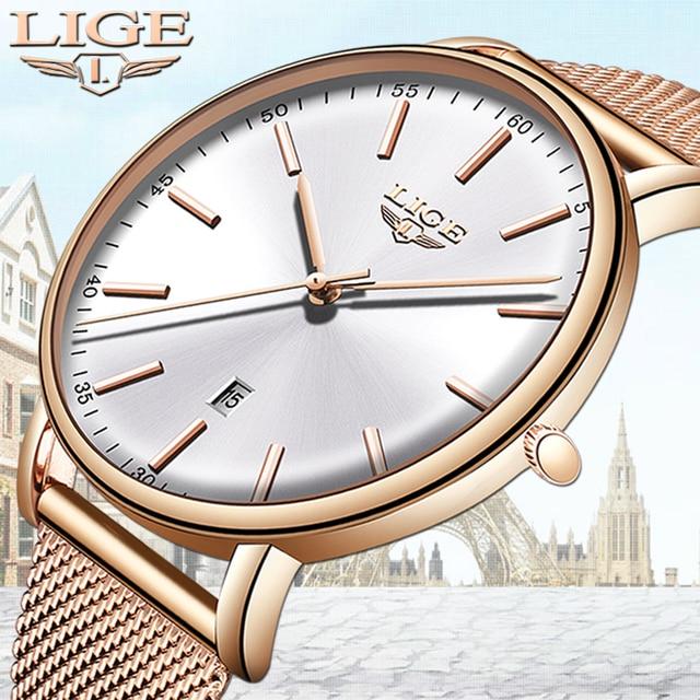 Ligeレディース腕時計トップブランドの高級防水腕時計ファッションの女性ステンレス鋼超薄型カジュアル腕時計クォーツ時計
