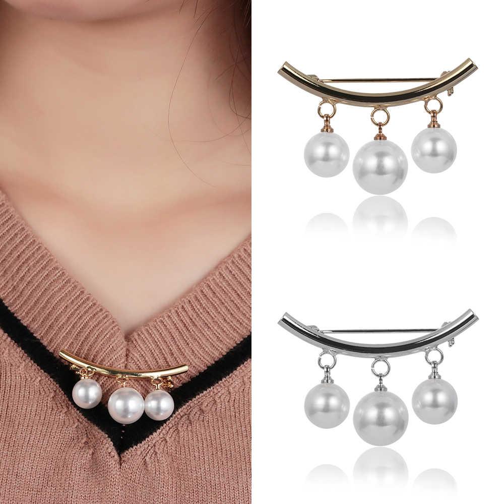 Kobiety urok trzy perła bluzka koszula kołnierz szpilka do krawata szalik agrafki broszki sweter biżuteria modne ciuchy dekory Broche