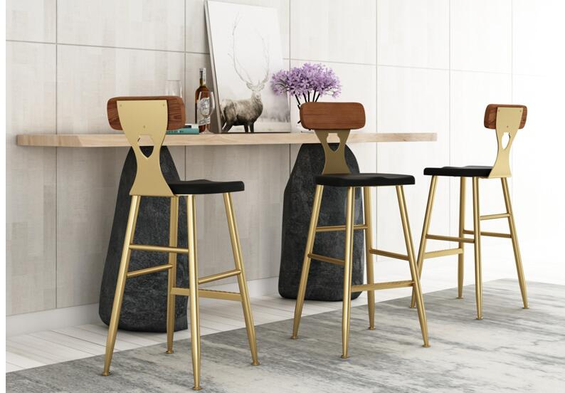Nordic Simple Bar Chair Tieyi Golden Household Dining Chair  High Stand  Coffee Leisure Chair Backrest