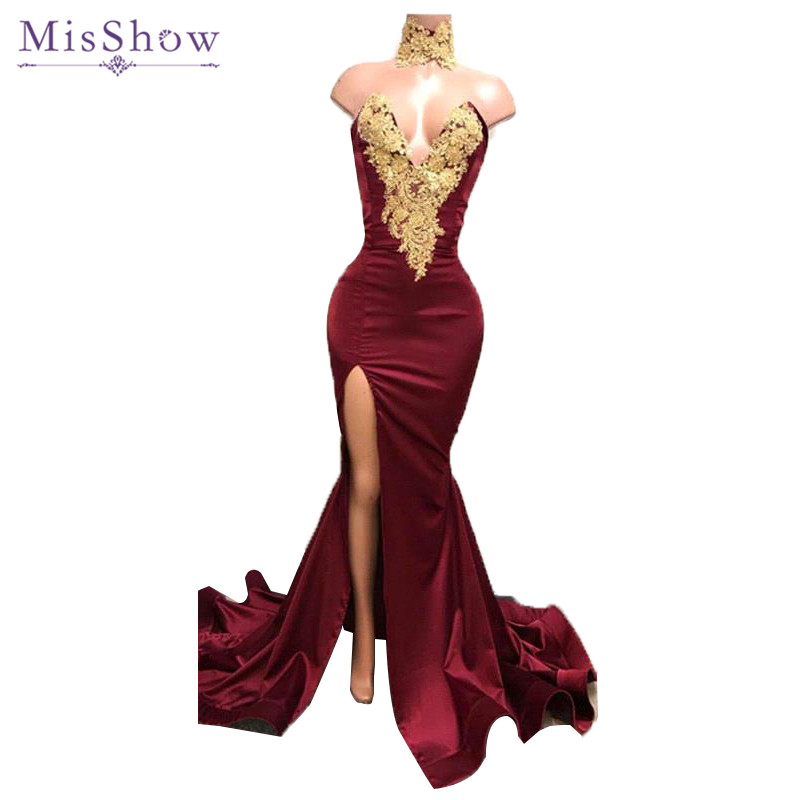 Sexy Burgundy Long Prom Dresses 2018 V Neck Gold Lace Appliques Side