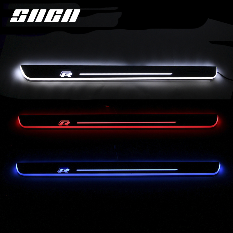 SNCN Trim Pedal LED Car Light Door Sill Scuff Plate Pathway Dynamic Streamer Welcome Lamp For Volkswagen VW Scirocco R 2009-15
