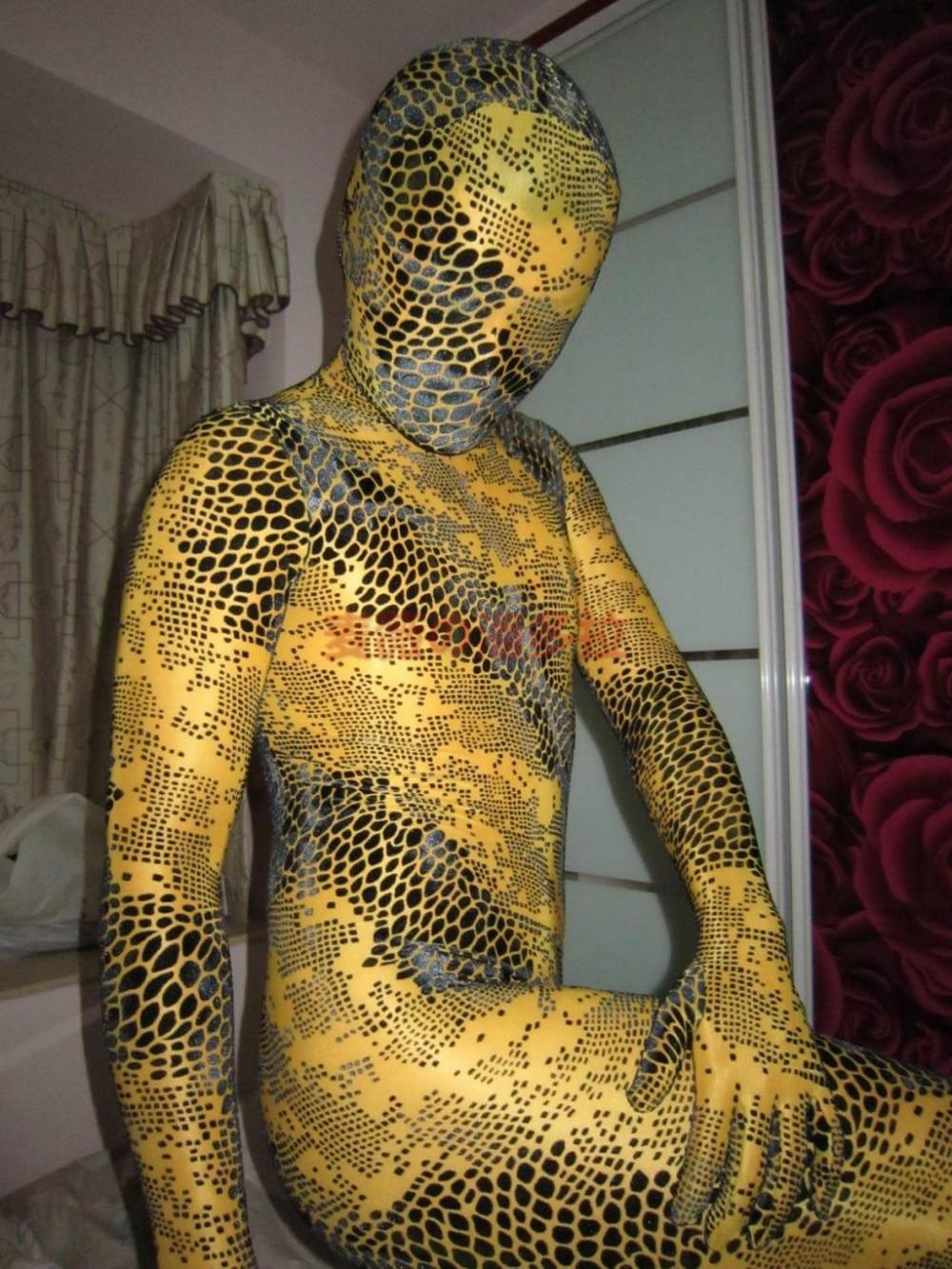 Red Snake Skin Shiny Metallic Patterned Zentai Bodysuit |Snake Zentai