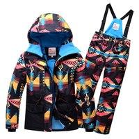 2019 Kids Girls Ski Suit High Quality Outdoor Winter Ski Suits For Girls Hooded Ski Jacket Pants Children Snow Sets Snowboard