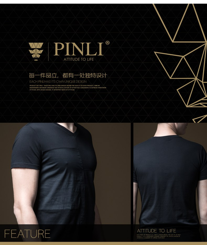 Linkin Park Palace Product Made The New Summer V-neck Splicing Men's Cultivate Morality Short Sleeve T-shirt Coat B192211278 87