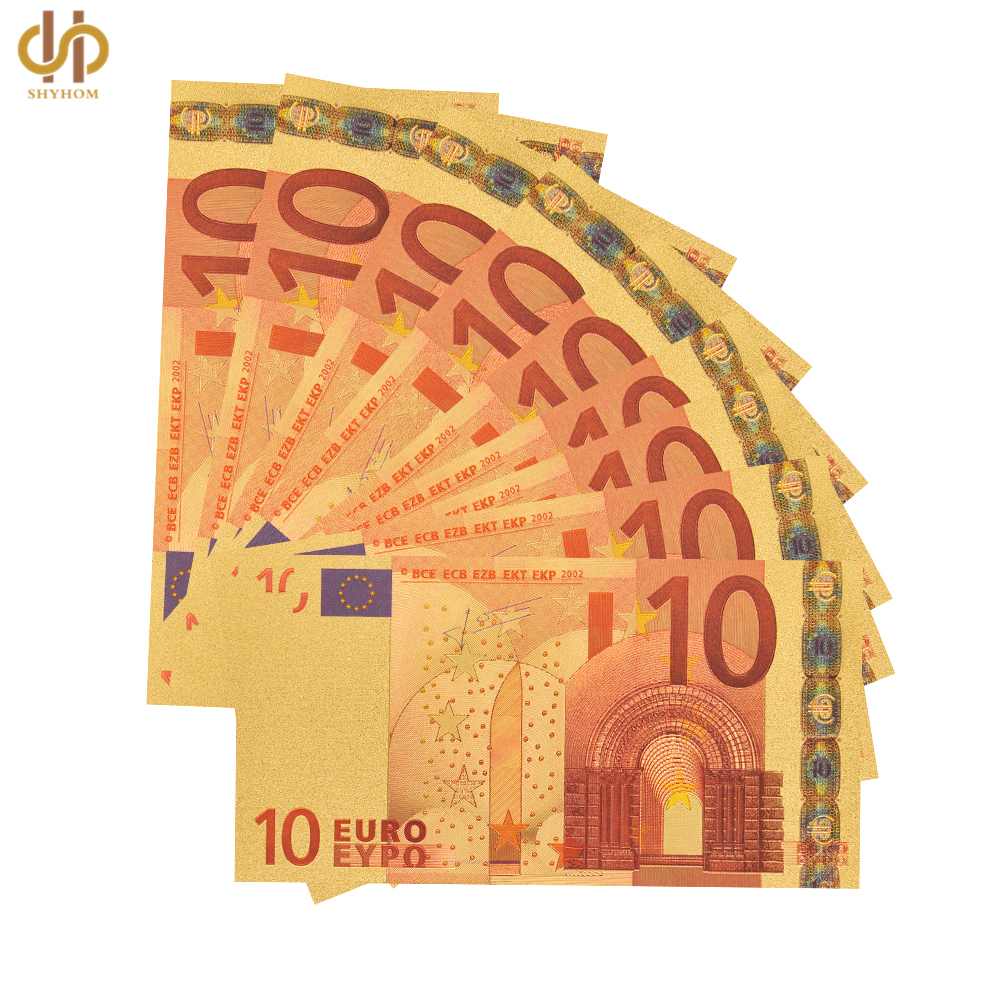 10PCS Banknote Lot Euro 10 Gold Paper Money Pure 24k Gold Banknote Note