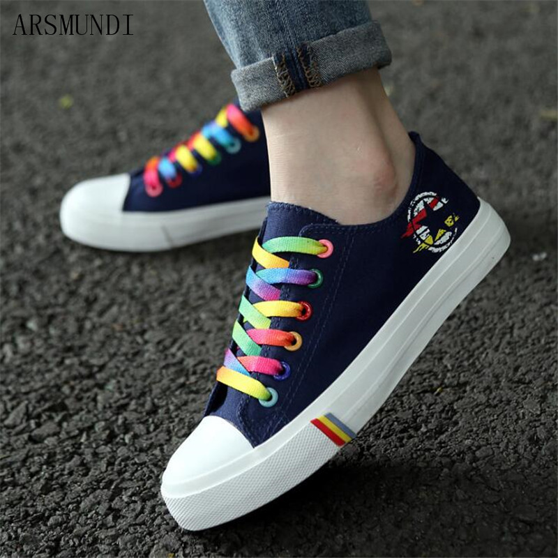 ARSMUNDI Women casual sneakers 2019 new canvas shoes female spring summer woman students walking shoes Zapatos M523 in Women 39 s Vulcanize Shoes from Shoes