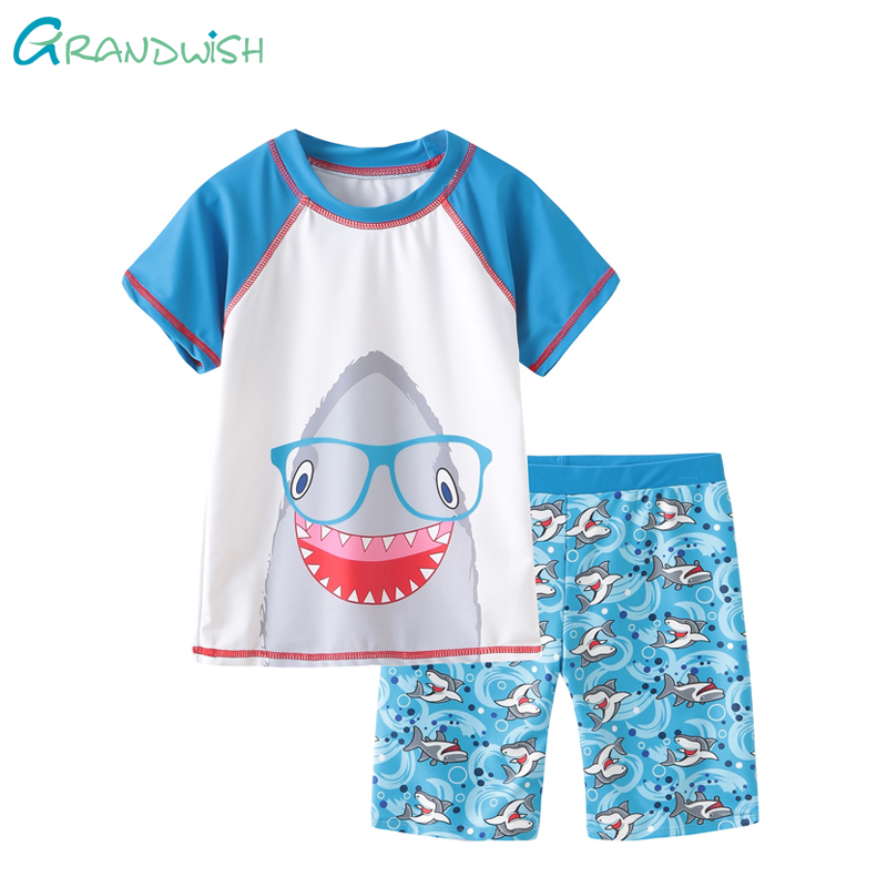Grandwish/для маленьких мальчиков милый купальный костюм мальчика пляжные Повседневное топ и шорты Детский мультфильм Акула Приморский одежда ...