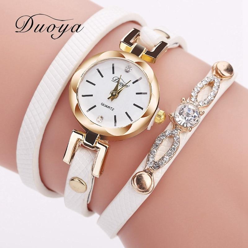 Bracelet Watches Duoya Women Brand Luxury Gold Dress Crystal Quartz Wrist Watch Ladies Fashion Simple Vintage Casual Clock 2017