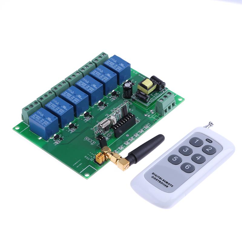 Alloyseed 110-240V Relay Module Board 6 Channel RF Relay Board Parts with Remote Control for Electric Door Window Switch ifree fc 368m 3 channel digital control switch white grey