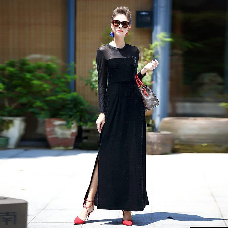 Vestito velluto nero lungo