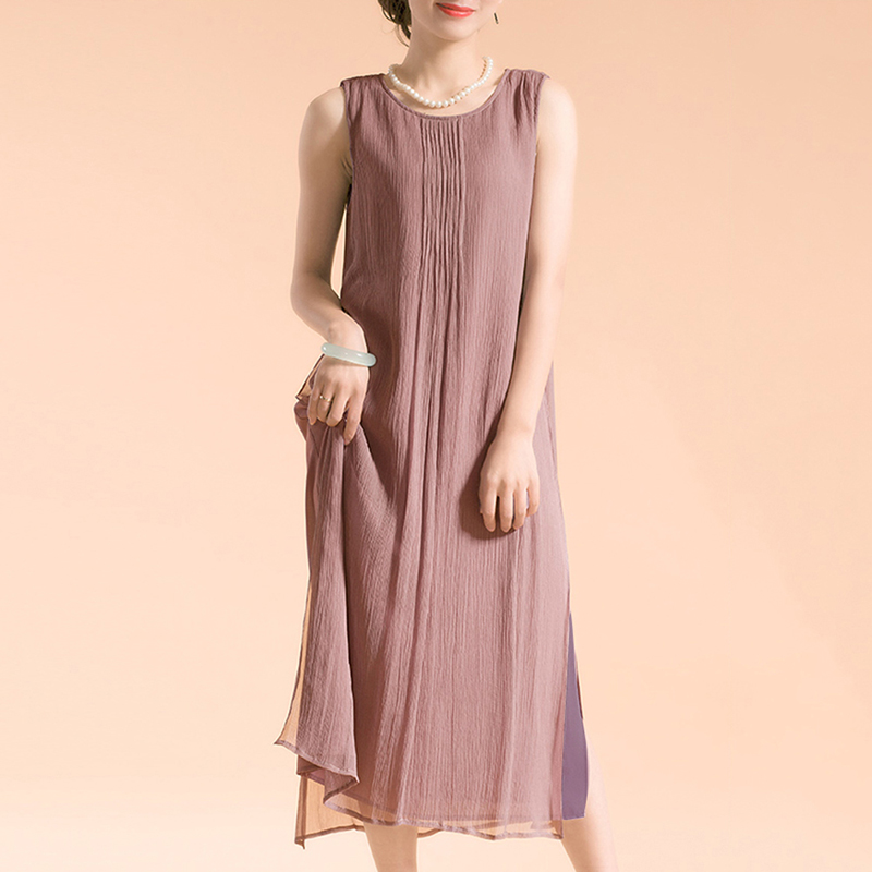 EaseHut Women Sleeveless Summer Dress 2019 Boho Beach Casual Ruched Slit Lined Midi Linen Dress S-5XL Plus Size Dresses elbise